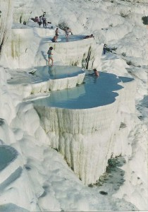 Pamukkale 1990 - people still bathing in the travertines