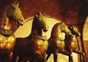 Quadriga, Basilica di San Marco, Venice. This was the symbol of imperial Byzantine power before the Fourth Crusade in 1204 ended this power.