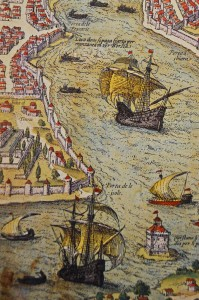 The three churches at the point of Saray Burnu, from a plan of Constantinople by Giovanni Vavassore of Venice, 1520.