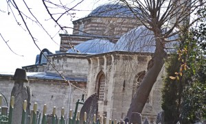The church building from the east with a multitude of Ottoman additions.
