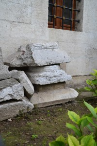 Byzantine stonework in the reconstruction site
