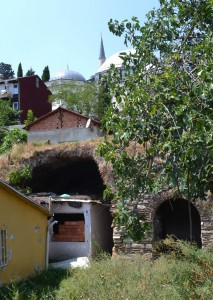 Large vaults on private property. Yavuz Sultan Selim Camii visible at top of hill